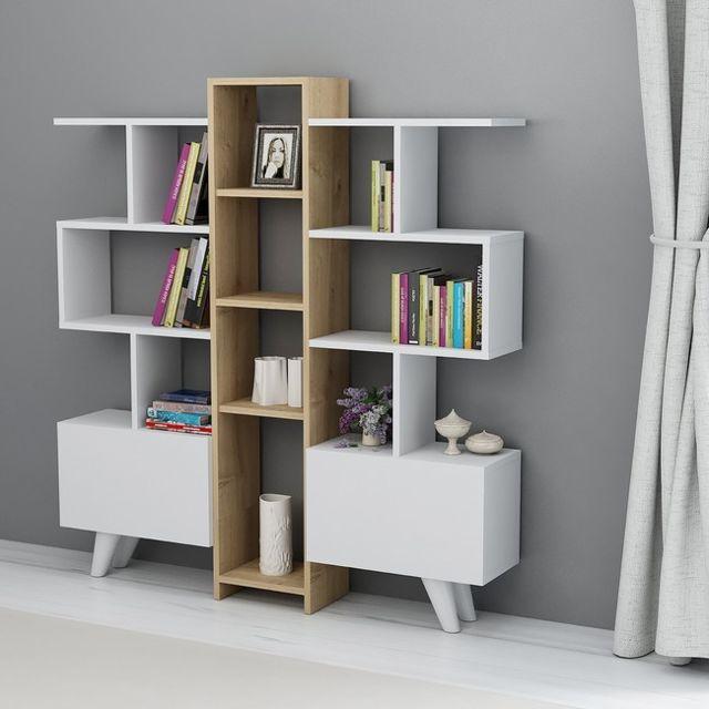 homemania asrin bibliotheque avec des etageres des portes pour le mur le