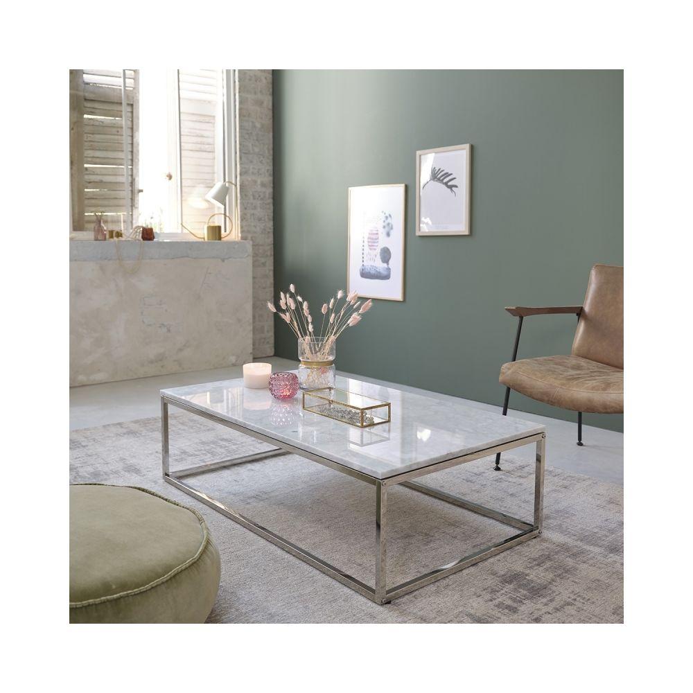 Bois Dessus Bois Dessous Table basse rectangulaire en marbre et métal 120