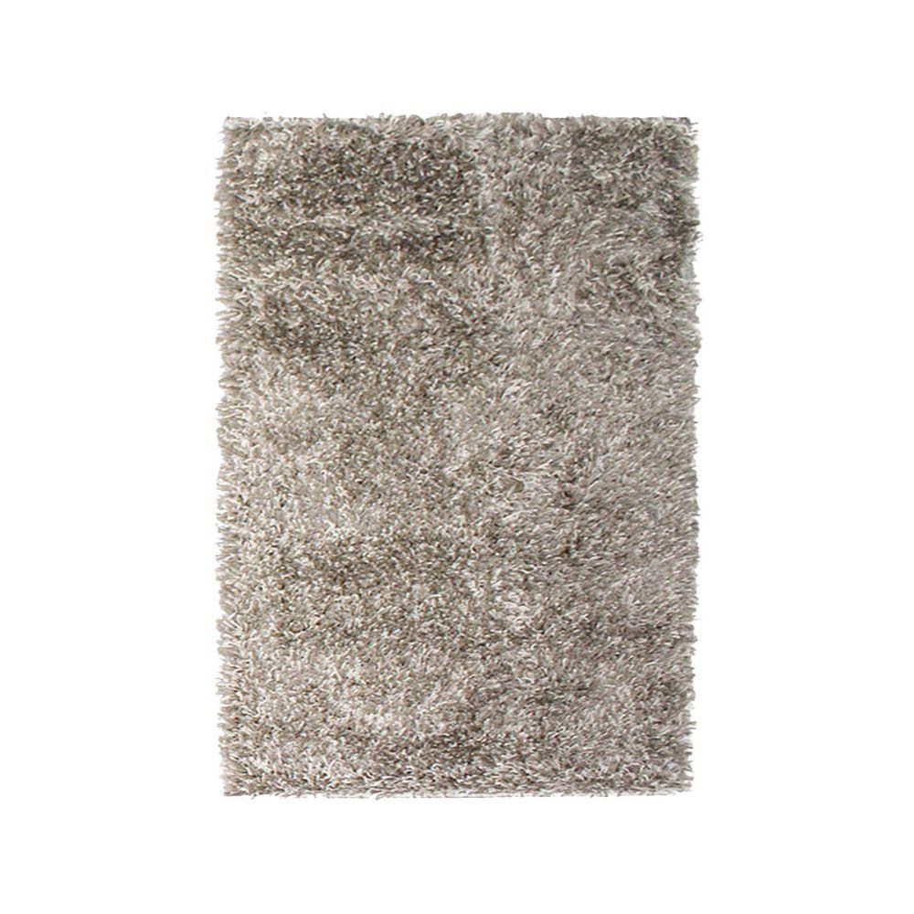 Mon Beau Tapis VALENCIA - Tapis à poils longs bi-colore taupe et blanc 120x170