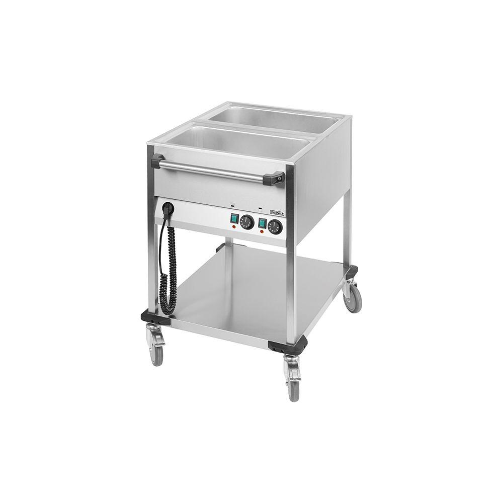 Casselin casselin - chariot bain-marie à eau inox 2 bacs gn 1/1 avec robinets de vidange - ccbm2v