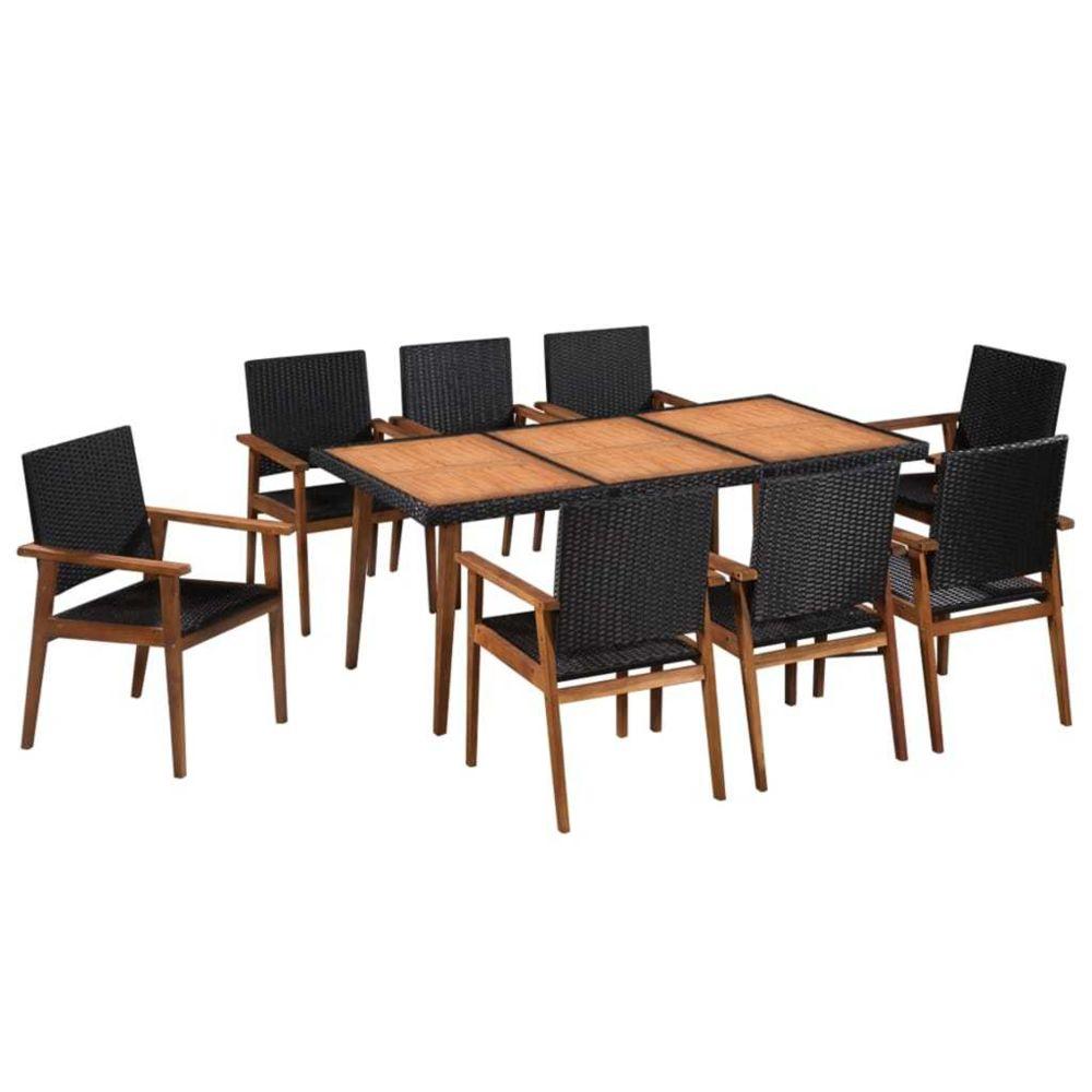 Vidaxl Mobilier d'extérieur 9 pcs Résine tressée Noir et marron - Meubles/Meubles de jardin/Ensembles de meubles d'extérieur  