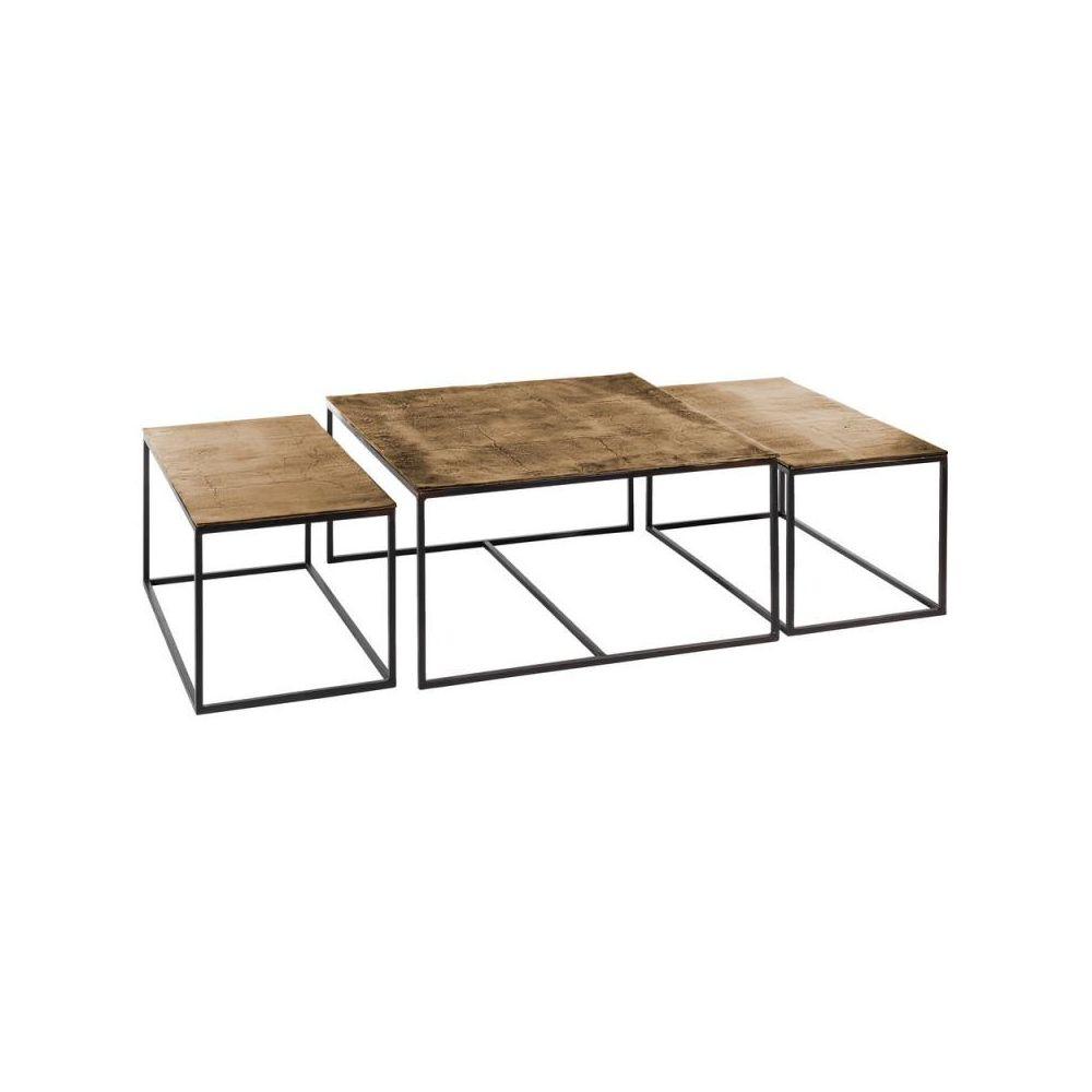 Tousmesmeubles Trio de Tables gigognes carrées Métal/Doré vieilli - OSAKA