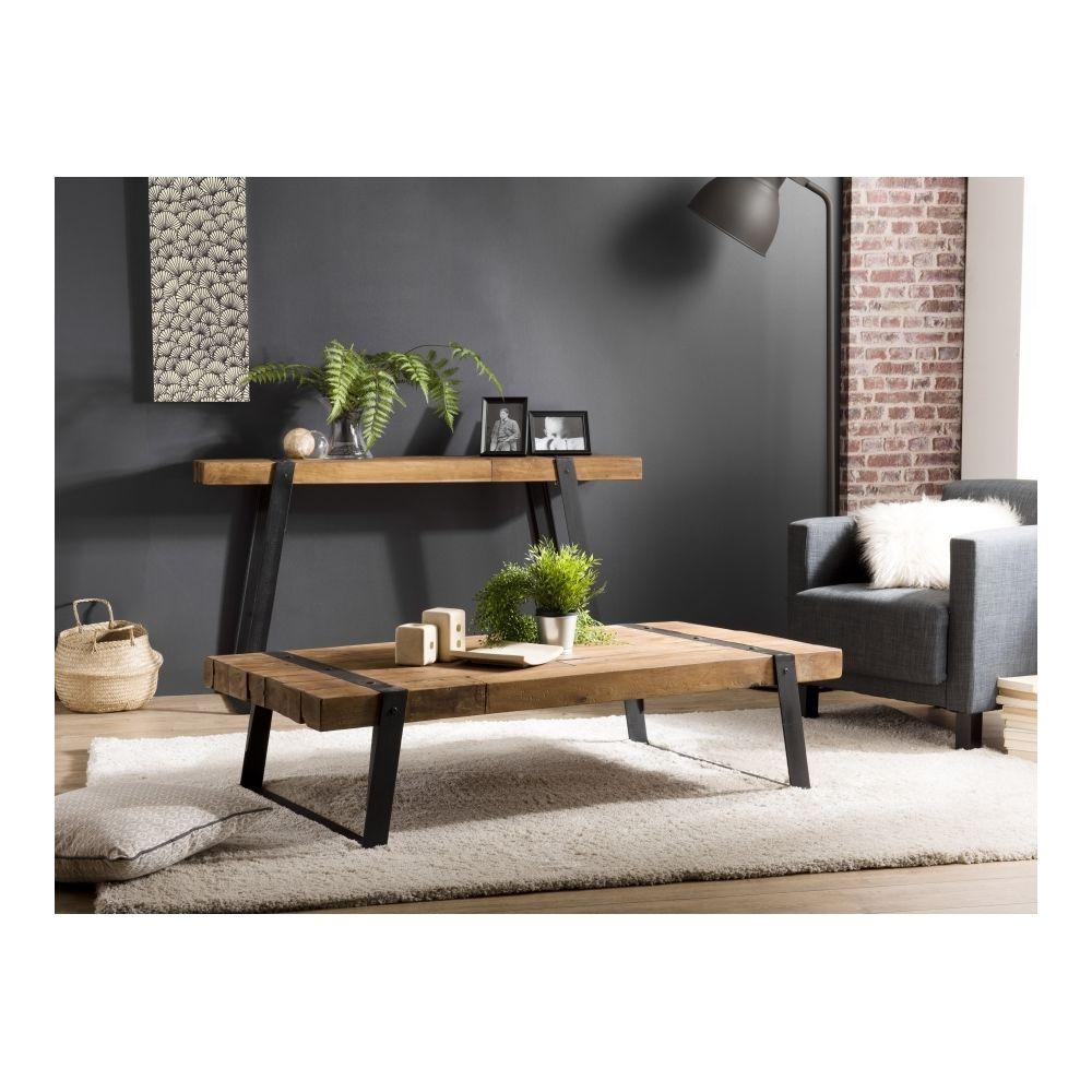 MACABANE Table basse rectangulaire 140x70cm Teck recyclé et pieds inclinés métal