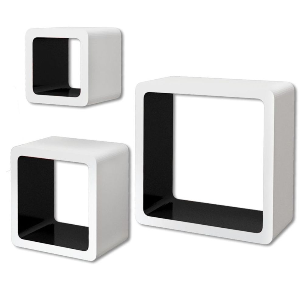 Helloshop26 Étagère armoire meuble design 3 cubes murales et en mdf blanc-noir pour livres/dvd 2702095/2