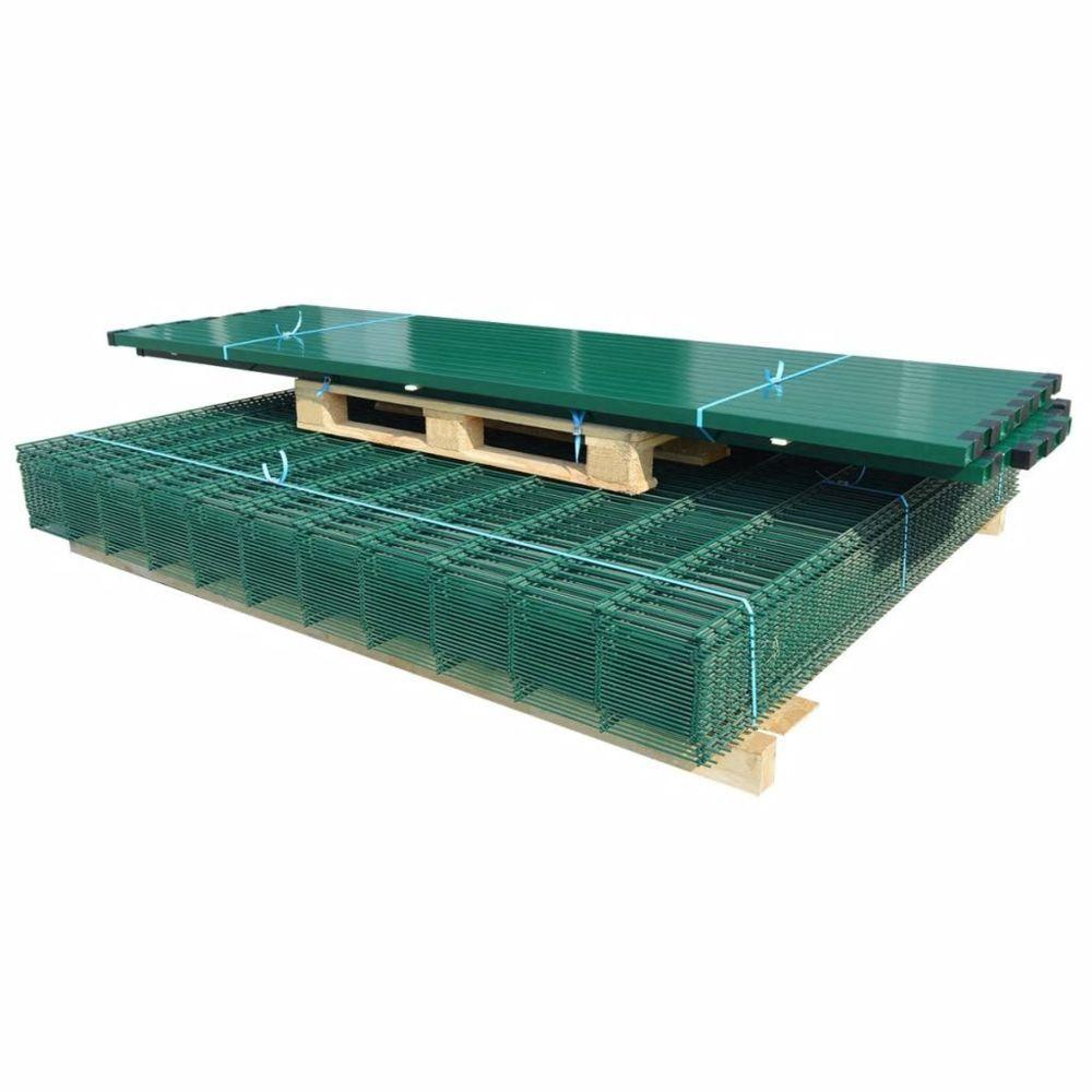 Vidaxl Panneaux et poteaux de clôture 2D pour jardin 2008x1230 mm 10 m   Vert