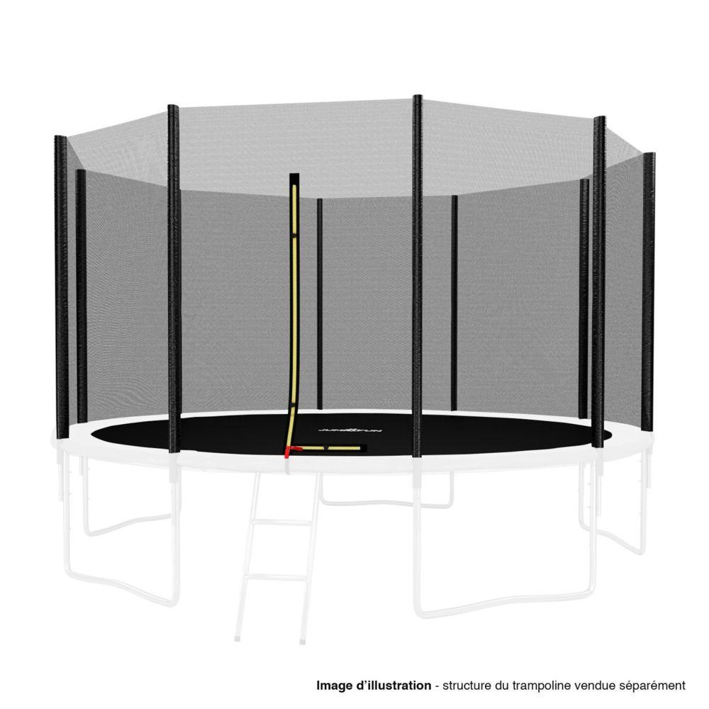 Kaia Sports Filet de sécurité extérieur Universel pour trampoline - avec bouchons hauts de perches : ø 12Ft, 10 Perches