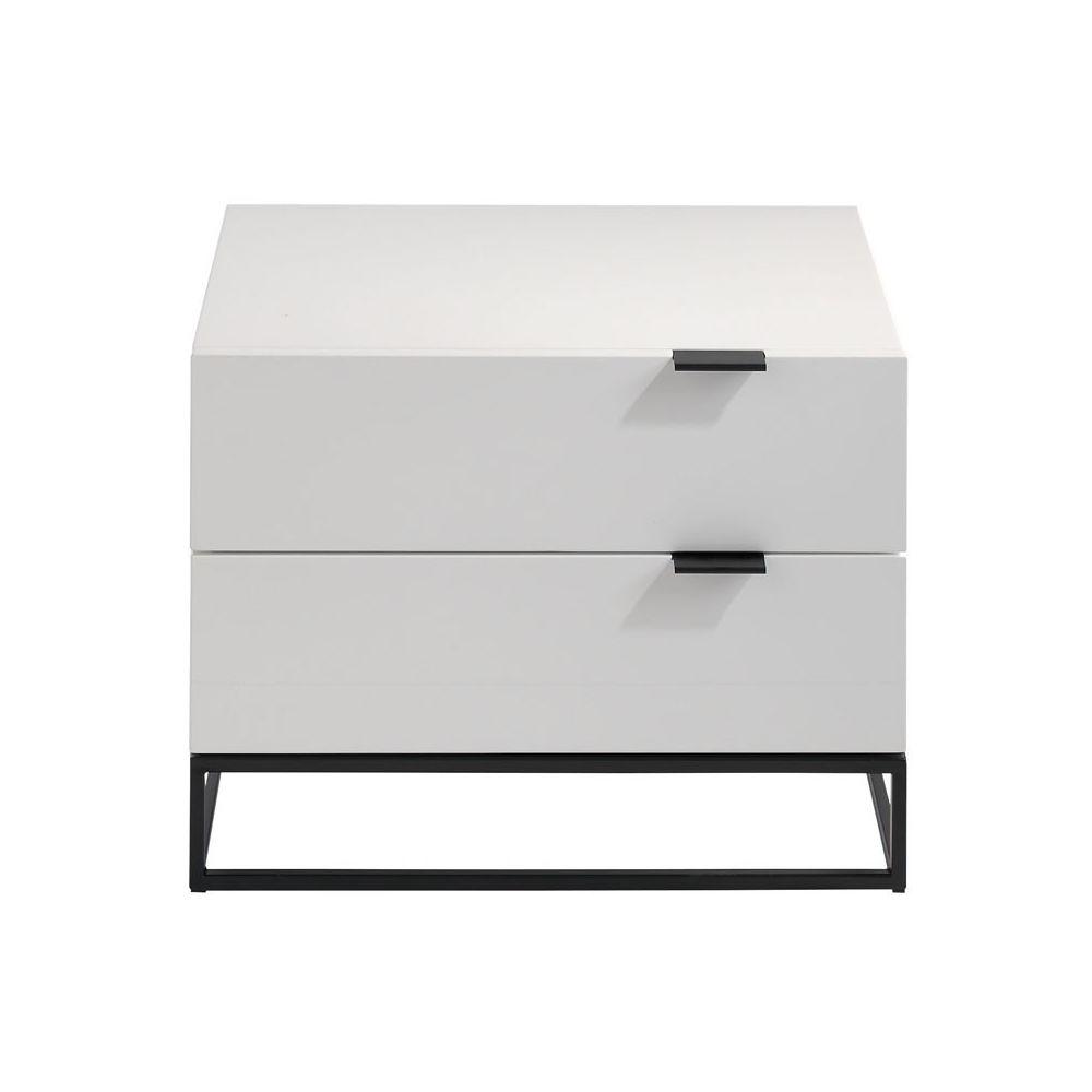 Tousmesmeubles Table de chevet 2 tiroirs Laqué Blanc/Métal - ONEL