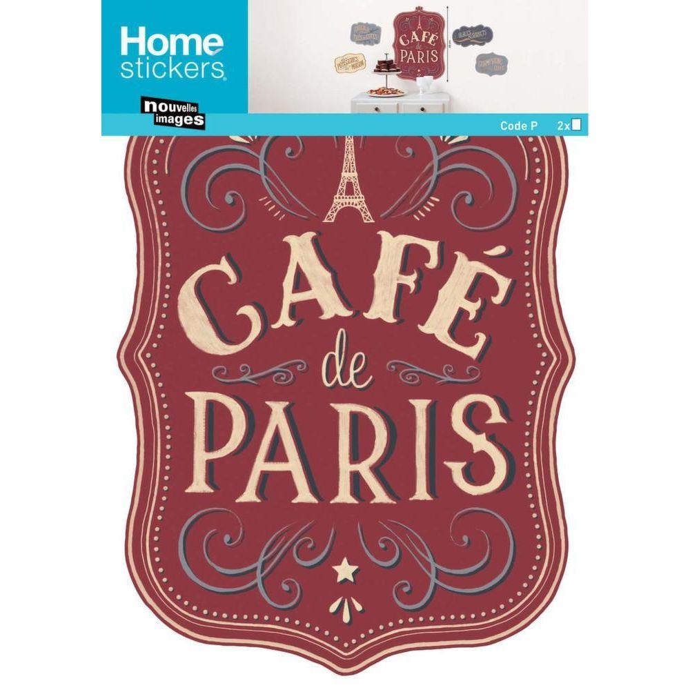 Nouvelles Images Sticker mural panneau café de Paris