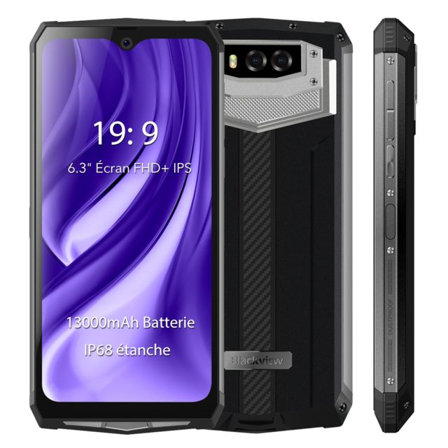 "Blackview - Smartphone Incassable IP68 Etanche Blackview BV9100 6.3"""" Écran 13000mAh Batterie 4Go + 64Go Octa Core Téléphone portable 4G NFC - Argent - Smartphone Android"