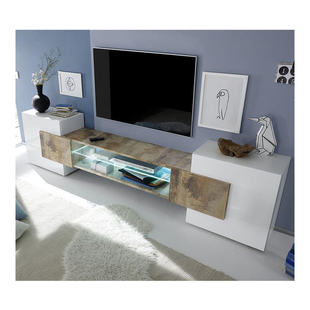 Kasalinea Meuble TV moderne blanc laqué brillant et couleur bois EROS 2 avec éclairage