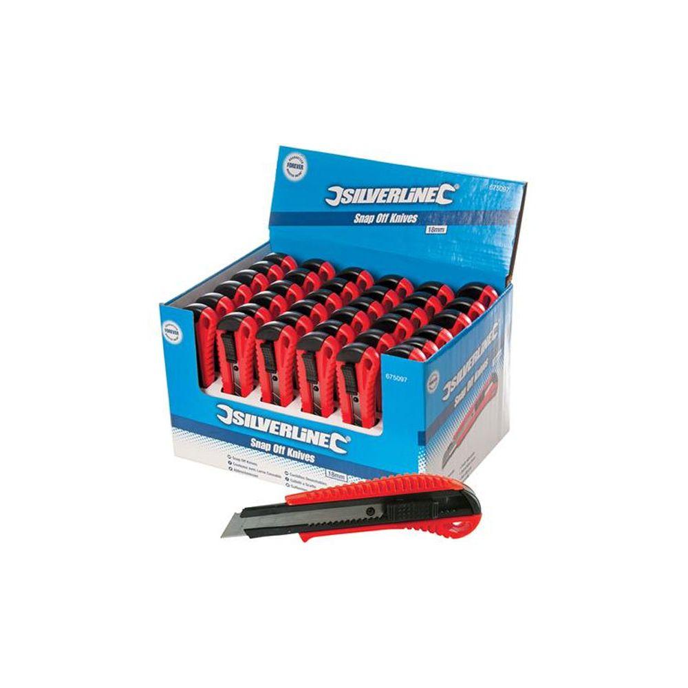 Silverline Boîte présentoir de 36 cutters à lame sécable 18 mm 36 pcs SILVERLINE 675097