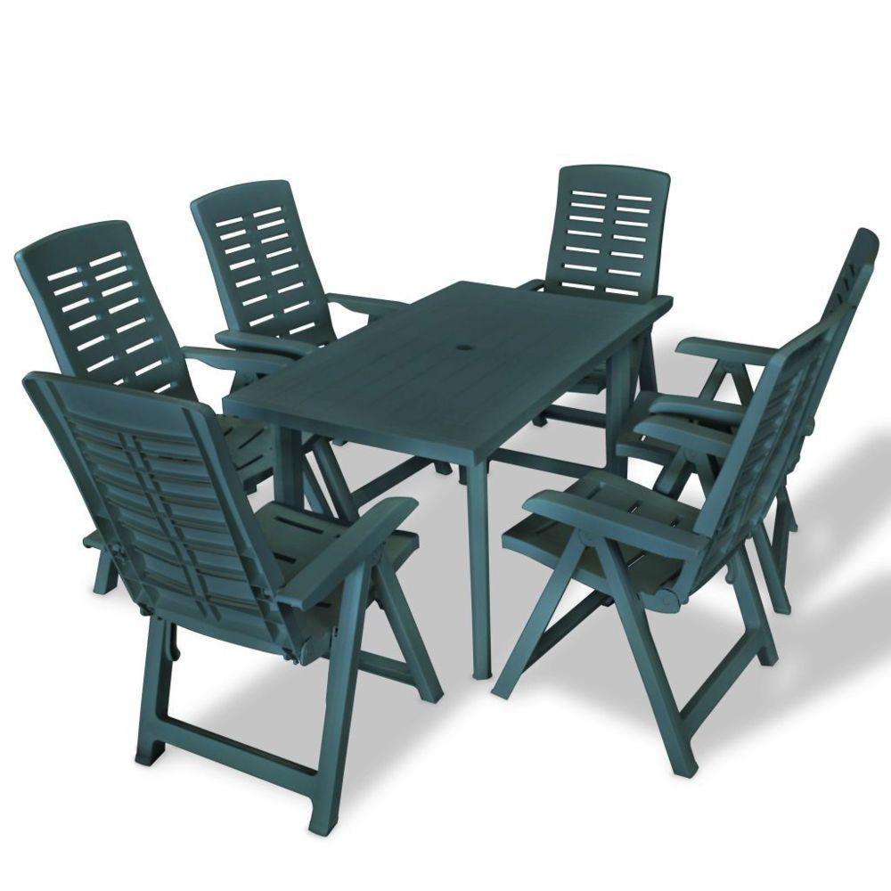 Vidaxl vidaXL Mobilier à dîner d'extérieur 7 pcs Plastique Vert