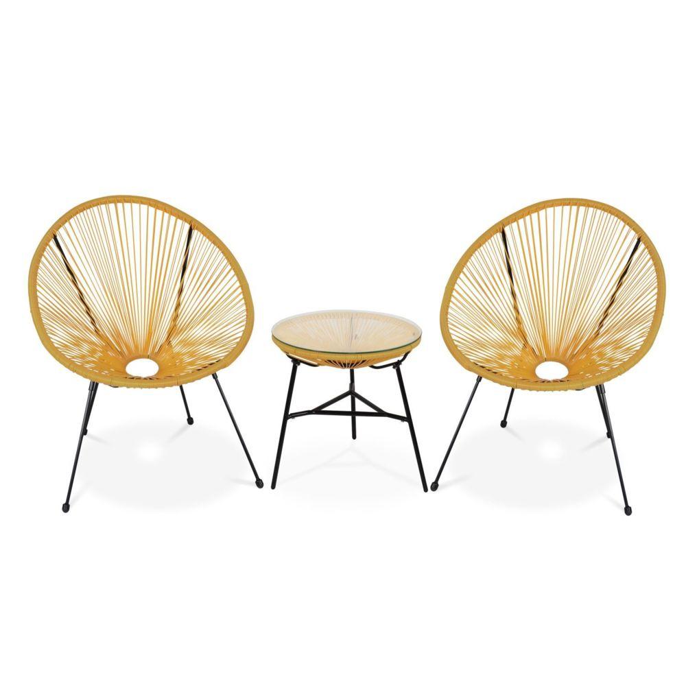 Alice'S Garden Lot de 2 fauteuils ACAPULCO forme d'oeuf avec table d'appoint - Jaune - Fauteuils design rétro