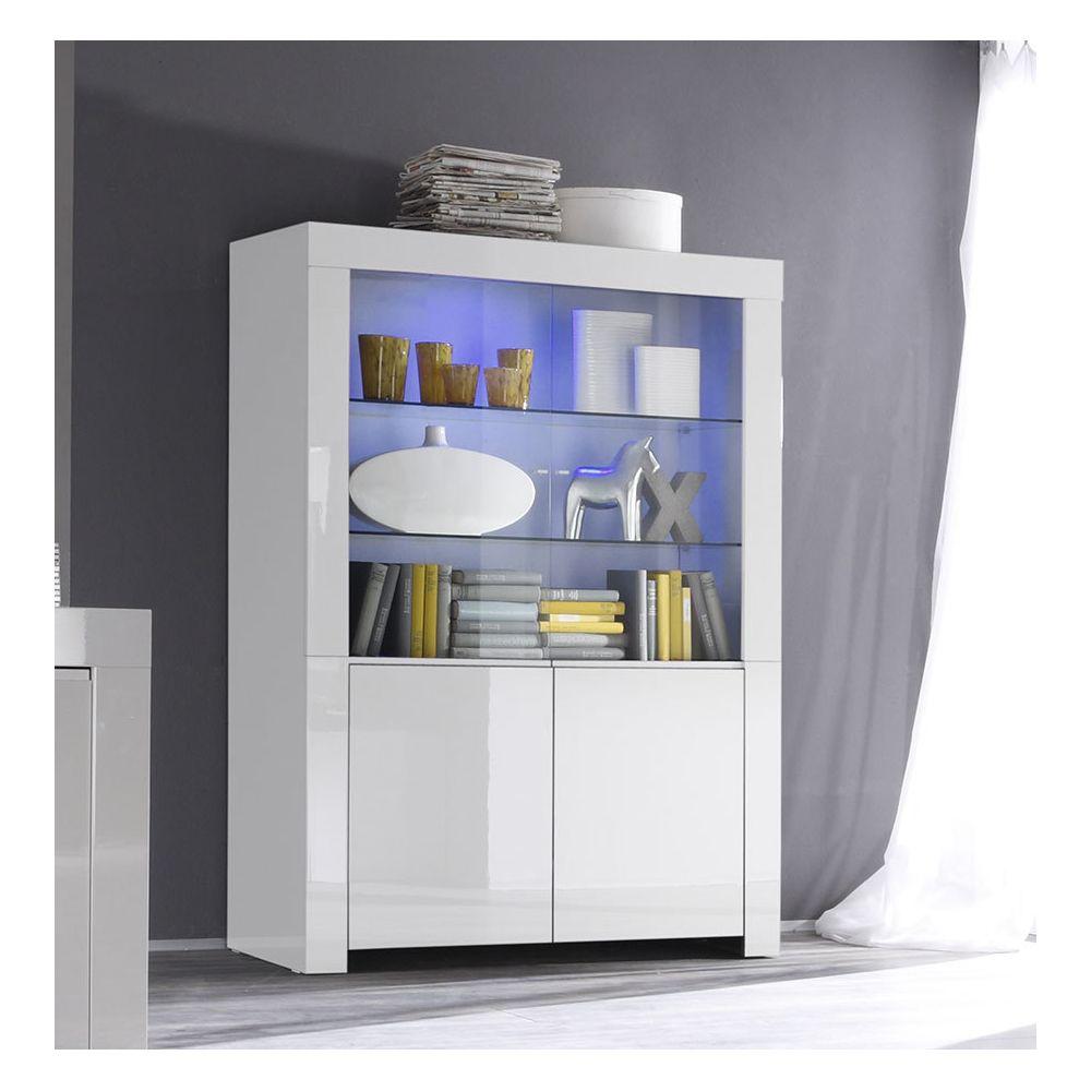 Sofamobili Vaisselier blanc laqué design PIETRA