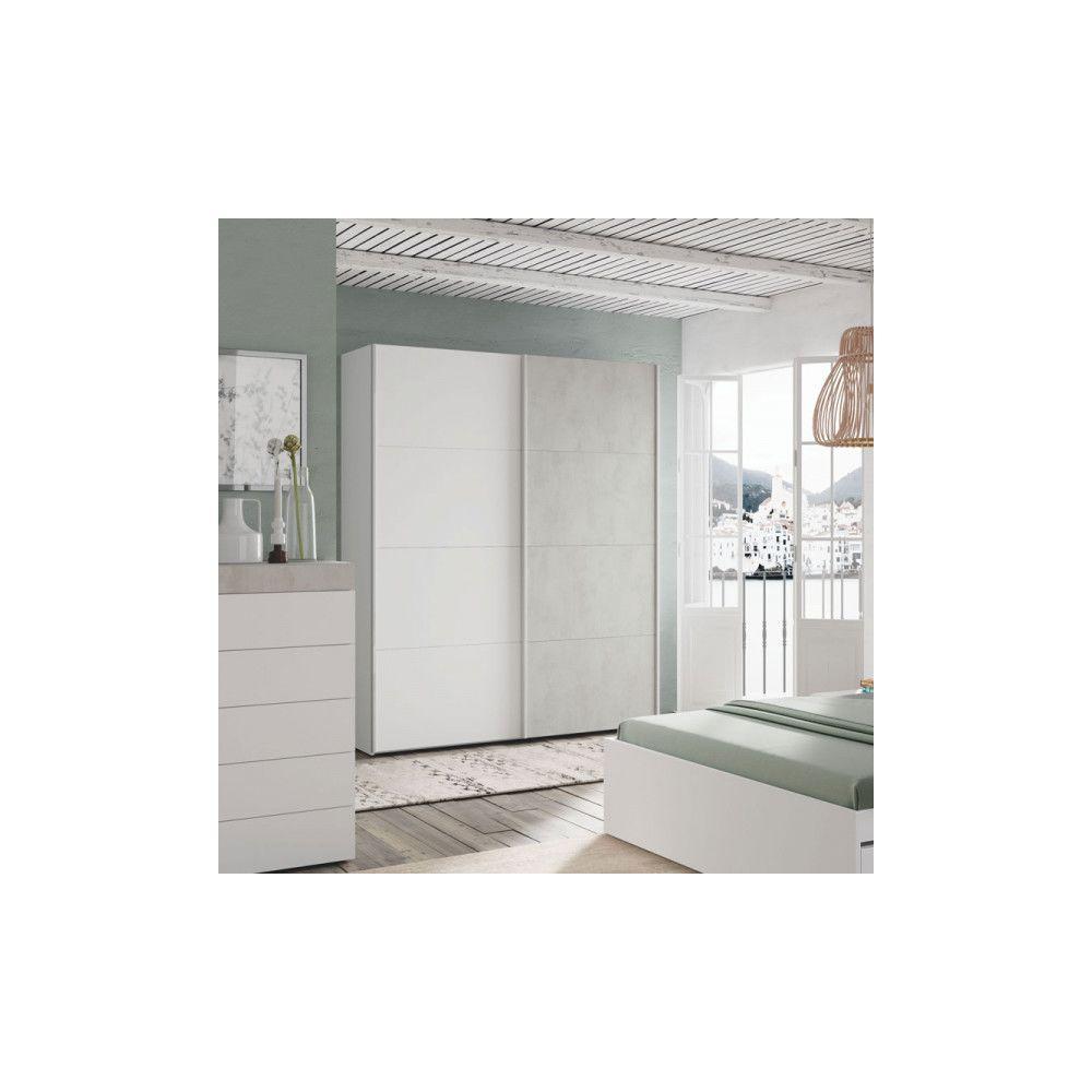 Dansmamaison Armoire 2 portes coulissantes Blanc/Béton ciré clair - SPARTAN - L 150 x l 60 x H 200 cm