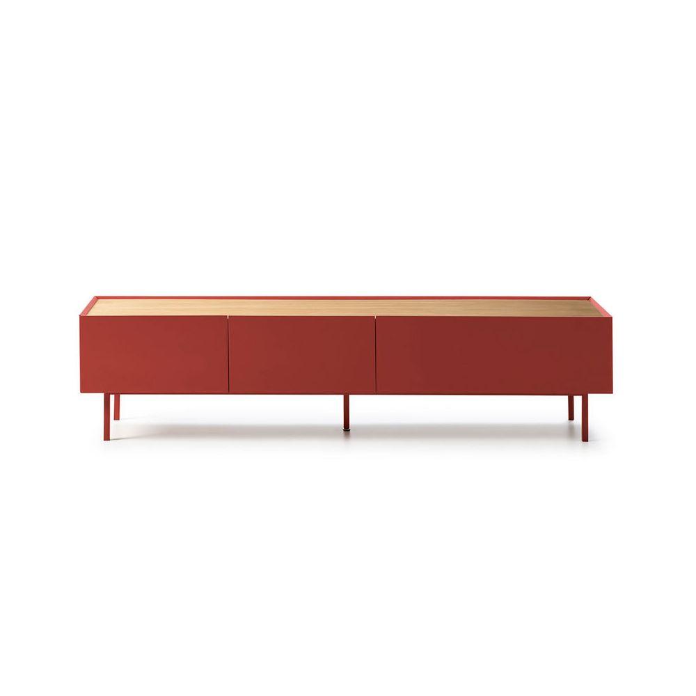 Tousmesmeubles Meuble TV 2 tiroirs 1 abattant Rouge/Chêne - MELYS