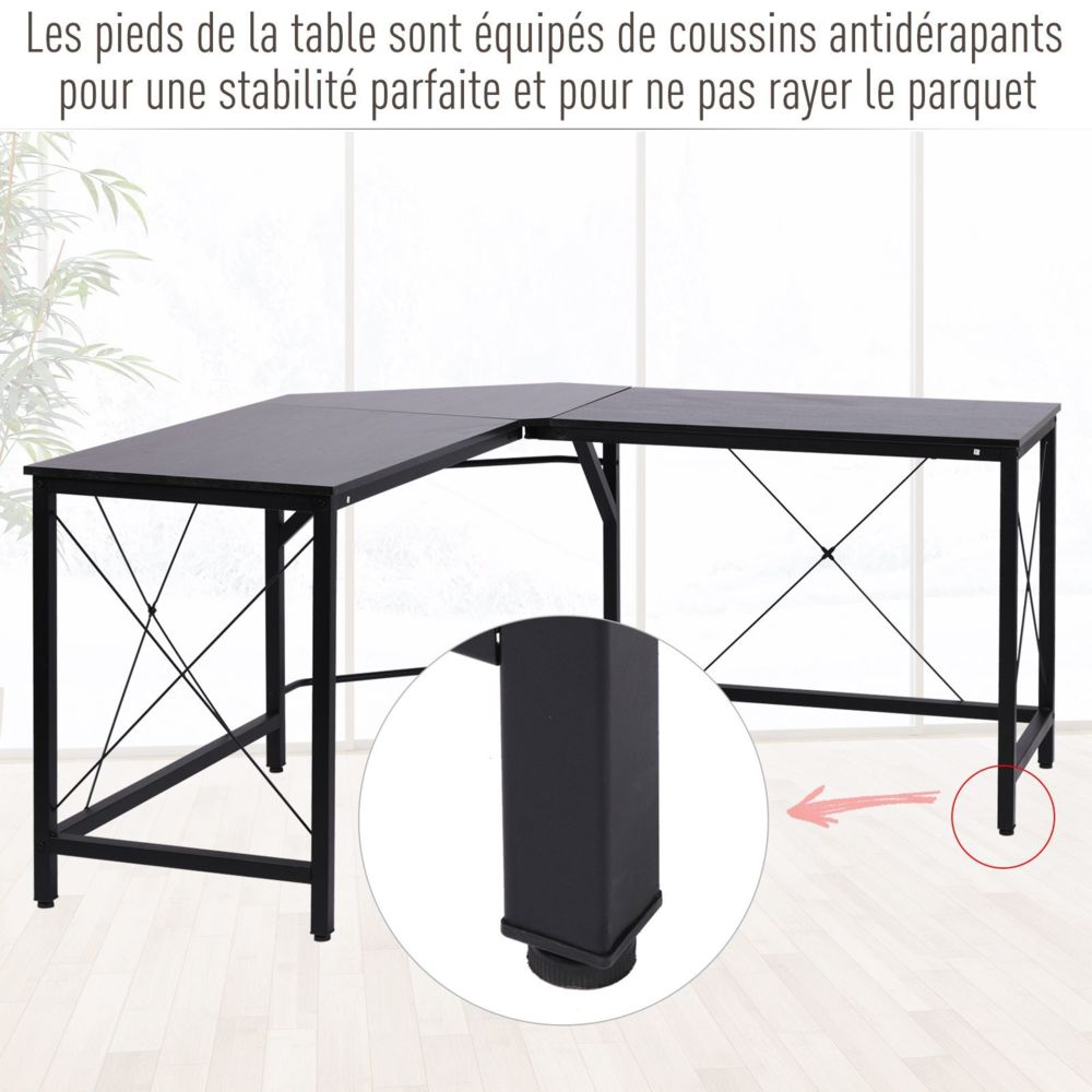 Homcom Bureau D Angle Bureau Informatique Design Moderne Metal Mdf Imitation Bois Noir Bureaux Rue Du Commerce