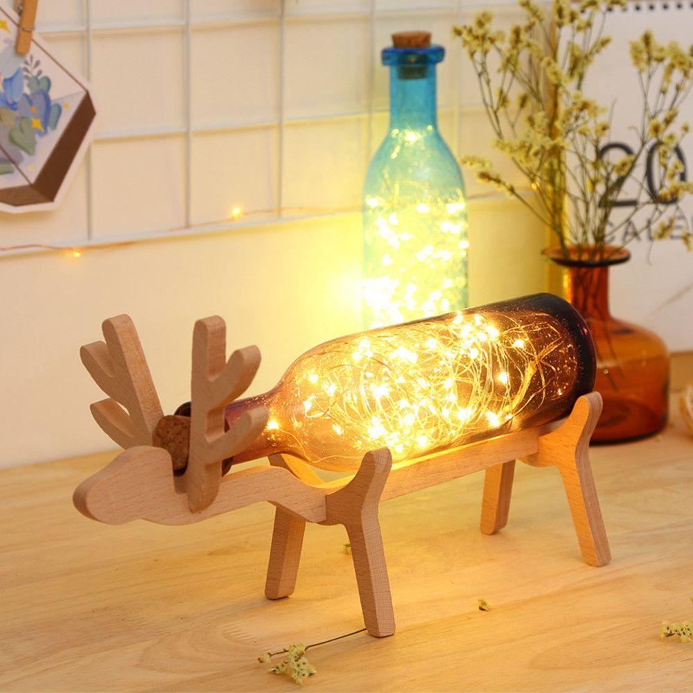 Generic Noël LED Elk bouteille en verre base en bois Illusion Nuit Commutateur Table lumineuse Lampe violet