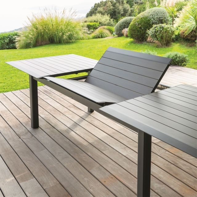 Hesperide - Table Allure 10 personnes Hespéride alu muscade/graphite - Tables de jardin