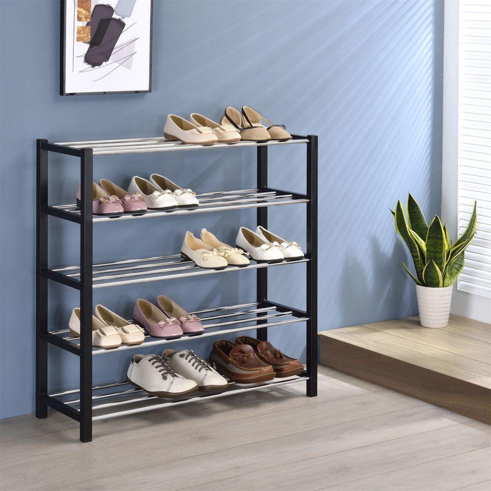 IDIMEX Etag/ère /à Chaussures Dublin Rangement Porte-Chaussures avec 5 Niveaux pour 20 Paires en m/étal chrom/é et laqu/é Noir