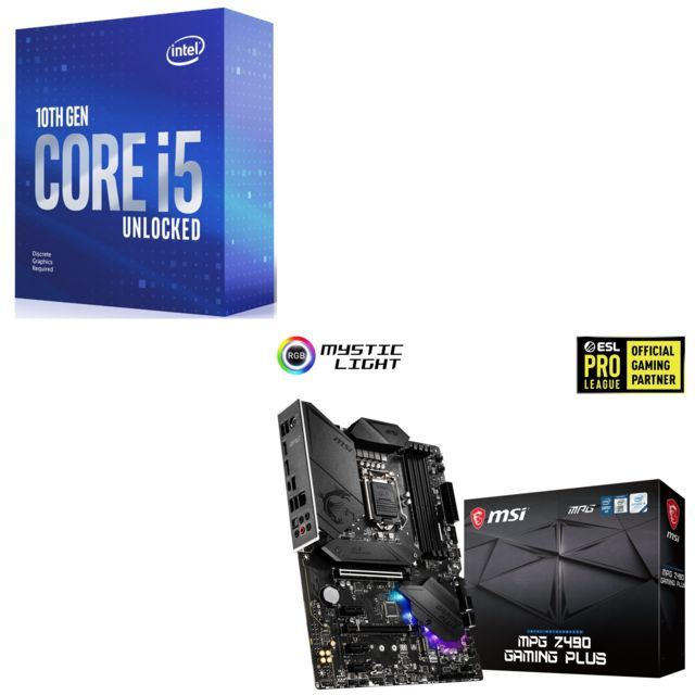 Intel - Core i5-10600K - 4.1/4.8 GHz + INTEL MPG Z490 GAMING PLUS - ATX - Kit d'évolution Intel