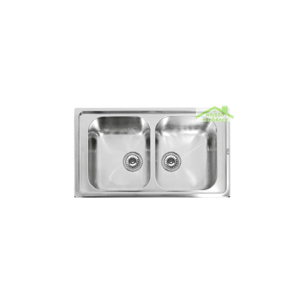 Karag Évier double 2 bacs en acier inoxydable RIVERA 86x50 cm