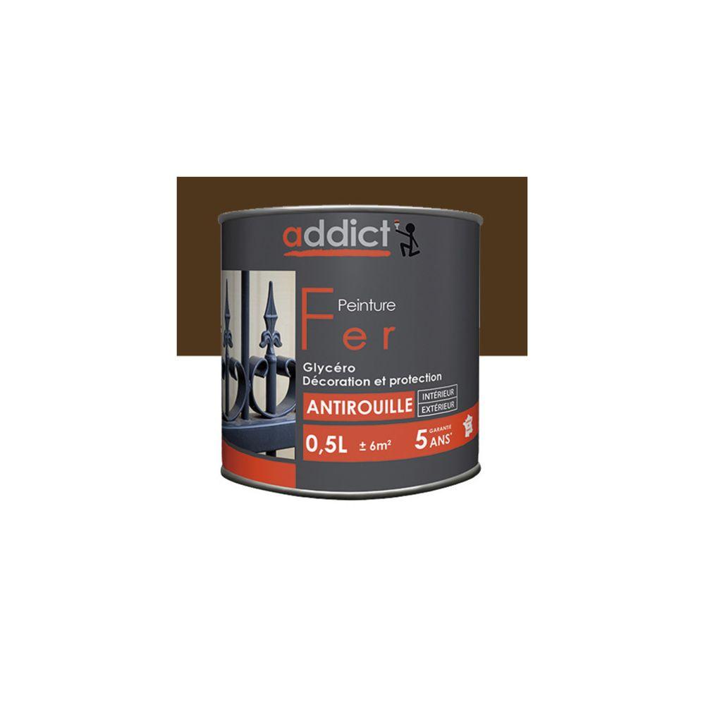 Addict Peinture laque Brillante pour le fer antirouille 0,5 L - Brun noyer - ADD111401 - Addict