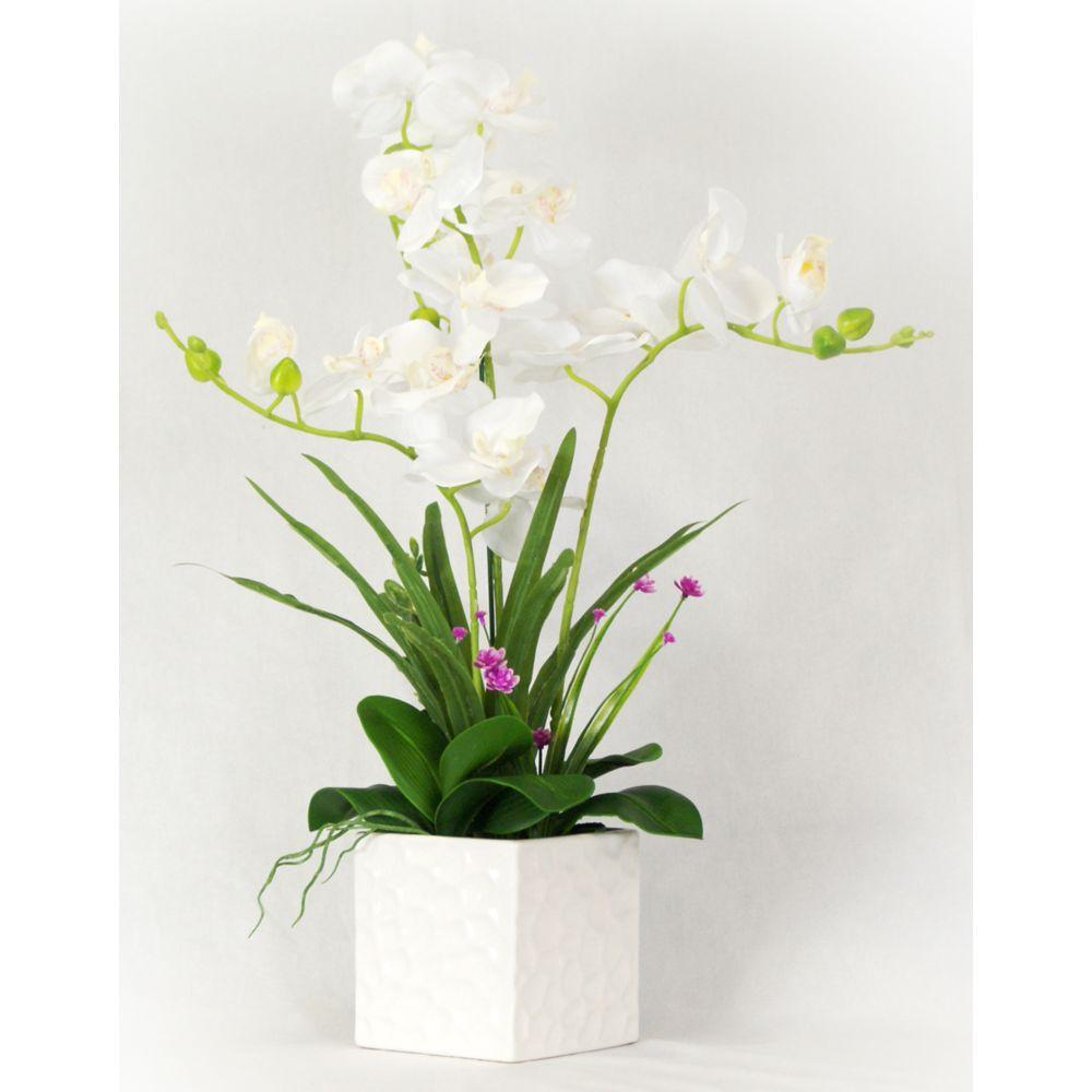 Pegane Plante artificielle Orchidée fleurs blanches - Hauteur 60 cm -PEGANE-
