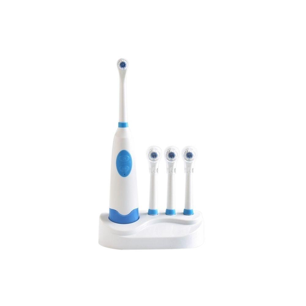 Wewoo Brosse à dents électrique bleu 2W Creative ménage à rotative imperméable à l'eau réglée avec 4 tête de de rechange et ba