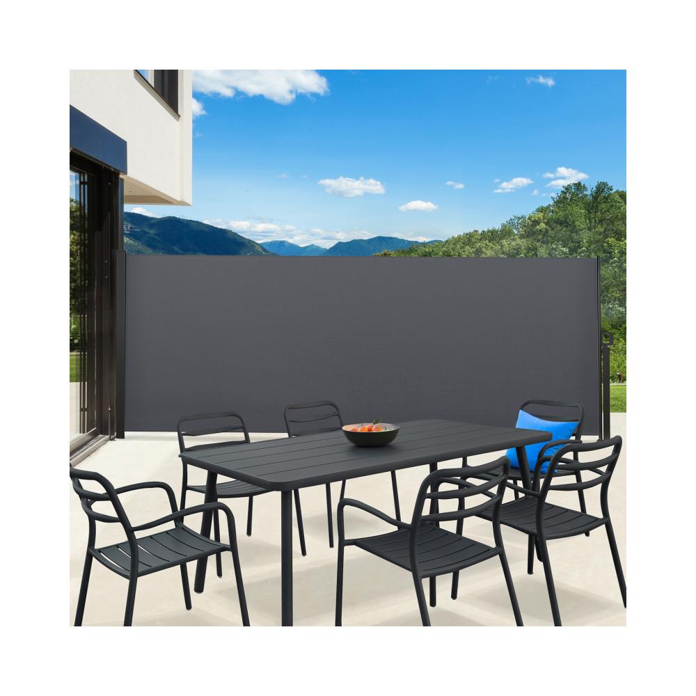 Idmarket Paravent extérieur rétractable 400 x 160 cm gris anthracite store latéral