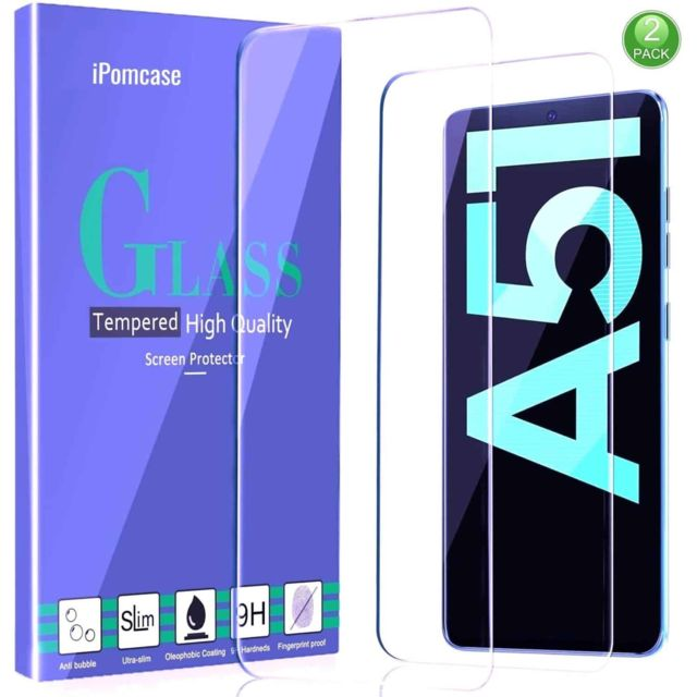Ipomcase - Film Protection d'écran (Lot de 2) en vitre verre trempé pour Samsung Galaxy A51 Ipomcase   - Protection écran tablette