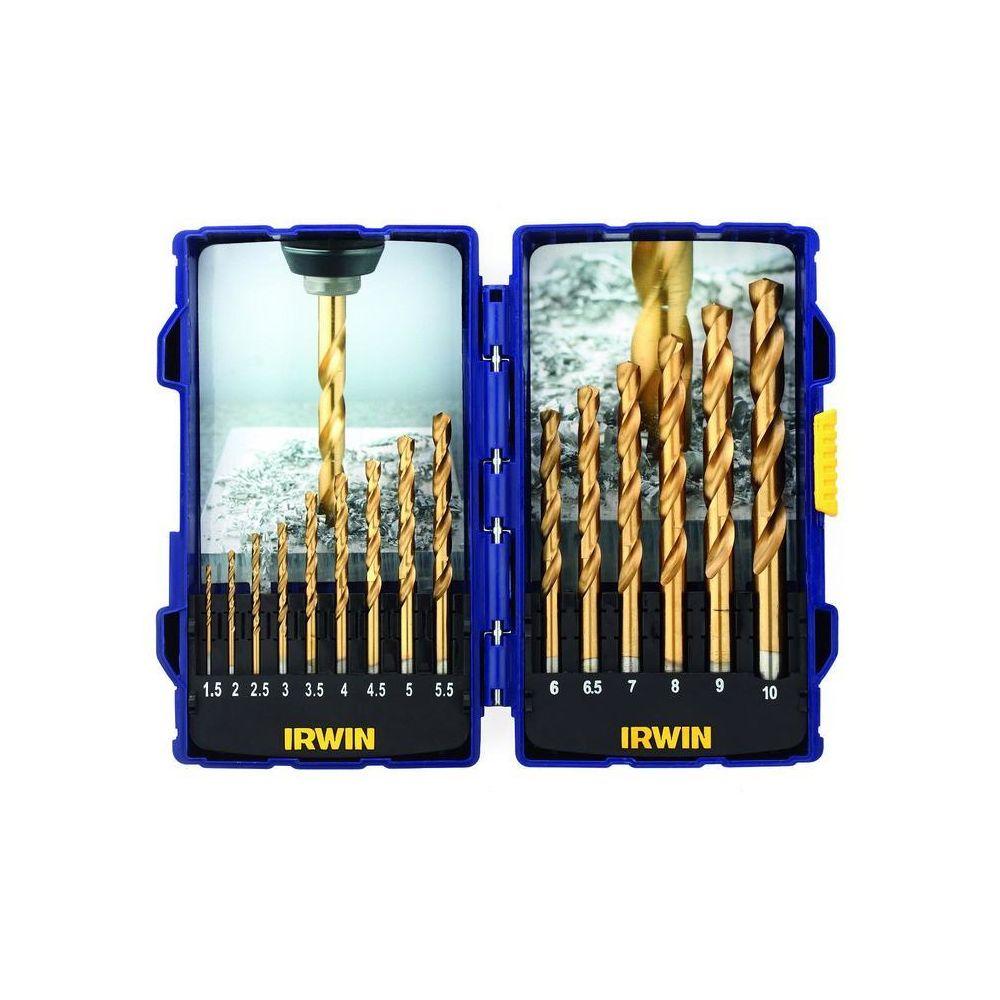Irwin Irwin - Coffret de 15 forets à métaux HSS Titanium de 1,5 à 10 mm - 10503991