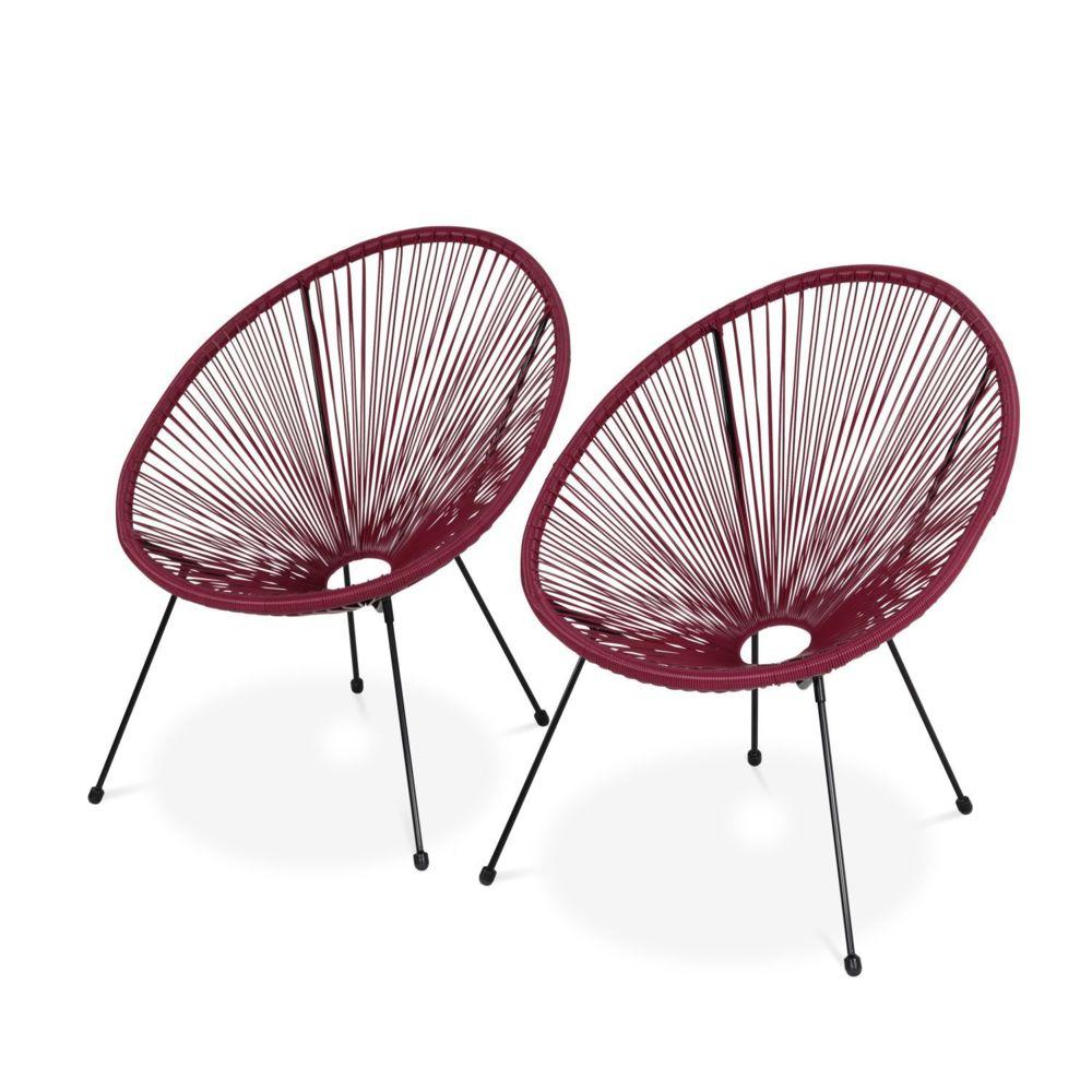 Alice'S Garden Lot de 2 fauteuils design Oeuf - Acapulco Bordeaux - Fauteuils 4 pieds design rétro, cordage plastique