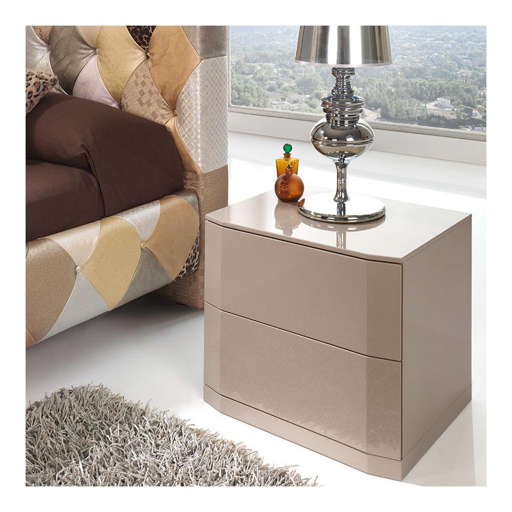 Nouvomeuble Table de chevet laqué taupe design TATIMO, 2 tiroirs avec système PUSH