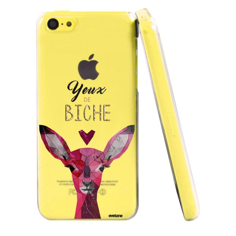 Evetane - Coque iPhone 5C rigide transparente Yeux De Biche Ecriture Tendance et Design Evetane.