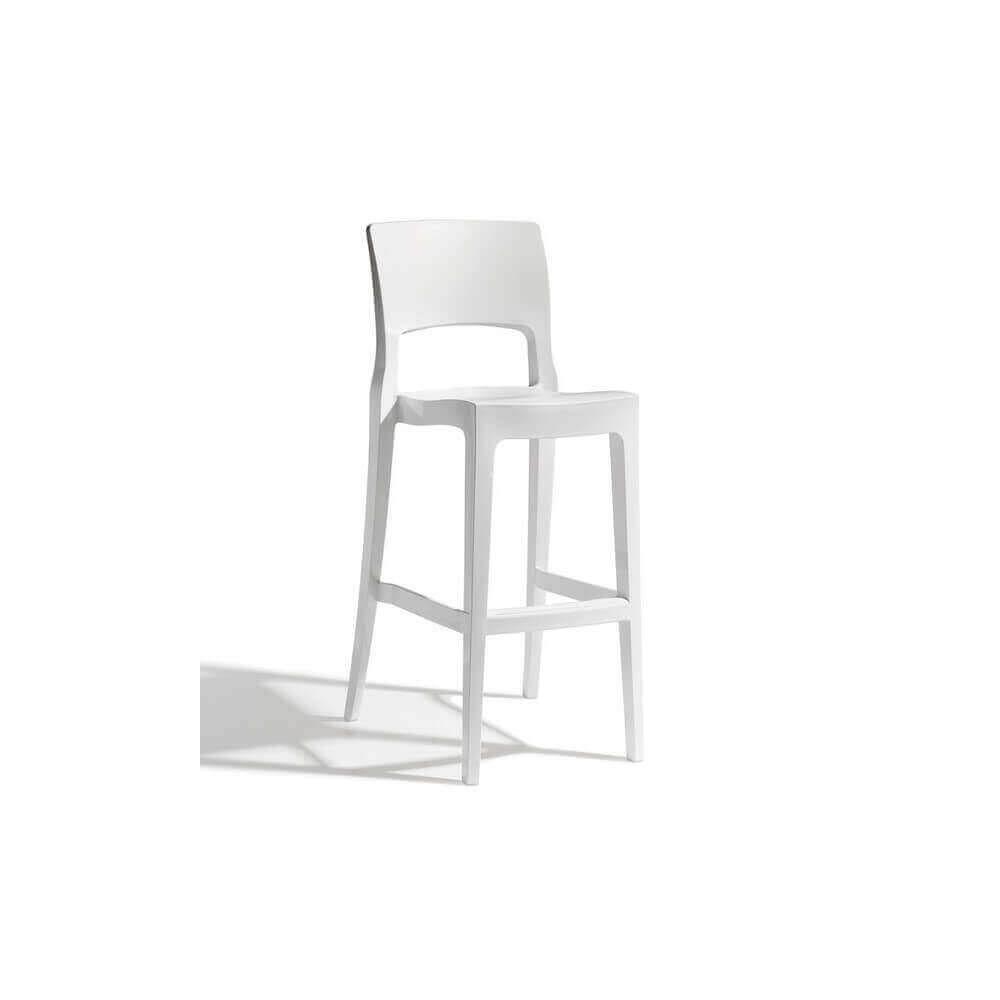 Mathi Design EASY - Chaise de bar confortable au design sobre blanc