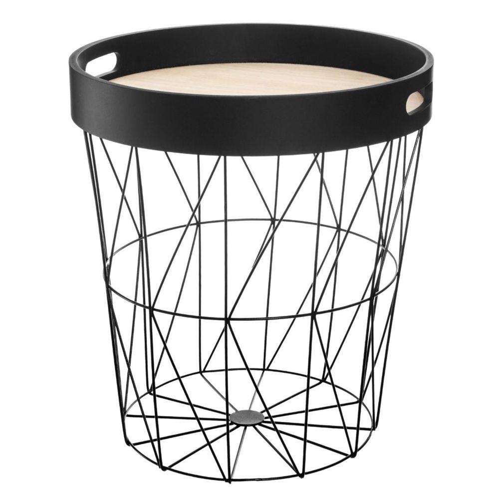 Pegane Table à café noire en métal / plateau bois - D. 35 x H. 38 cm -PEGANE-
