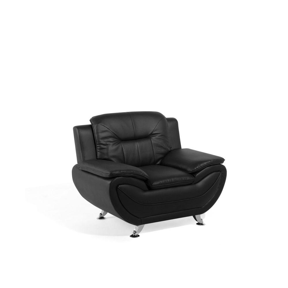 Beliani Beliani Fauteuil en simili-cuir noir LEIRA - noir