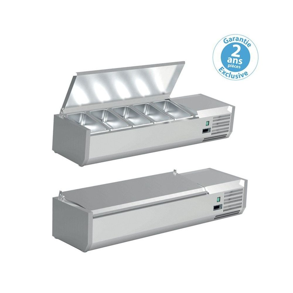 Furnotel Saladette à Poser Pizza - Bac GN 1/4 - Couvercle Inox - Furnotel - 1800 mm 9 x GN 1/4