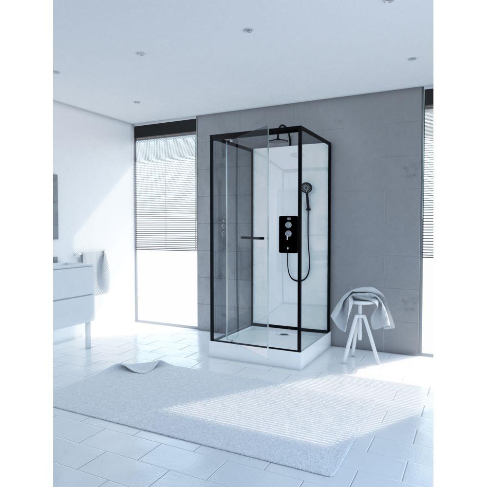 Aurlane Cabine de douche carrée 70x70x230cm - extra blanc et profilé noir mat - LUNAR SQUARE 70
