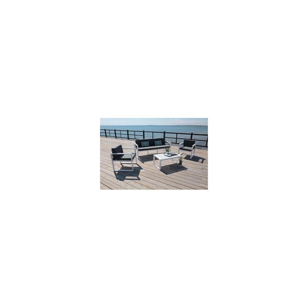 Hevea Hevea Ensemble Salon Sofa De Jardin MUNIC 8 en ALUMINIUM BLANC Coussins couleur GRIS FONCE HEV31247