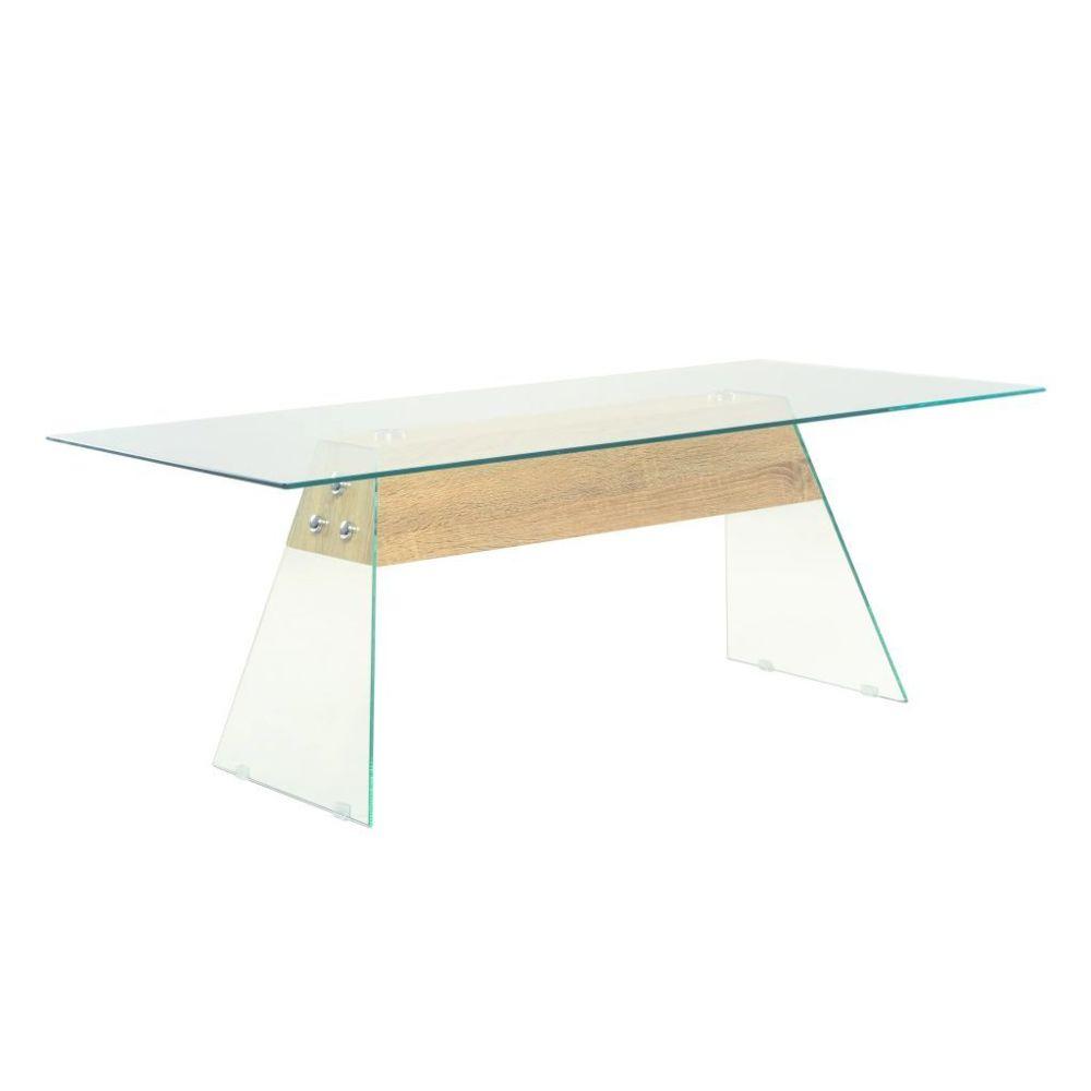 Vidaxl vidaXL Table basse MDF et verre 110 x 55 x 40 cm Couleur de chêne