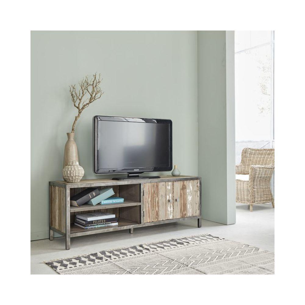 Bois Dessus Bois Dessous Meuble TV en bois de pin recyclé et métal 2 portes