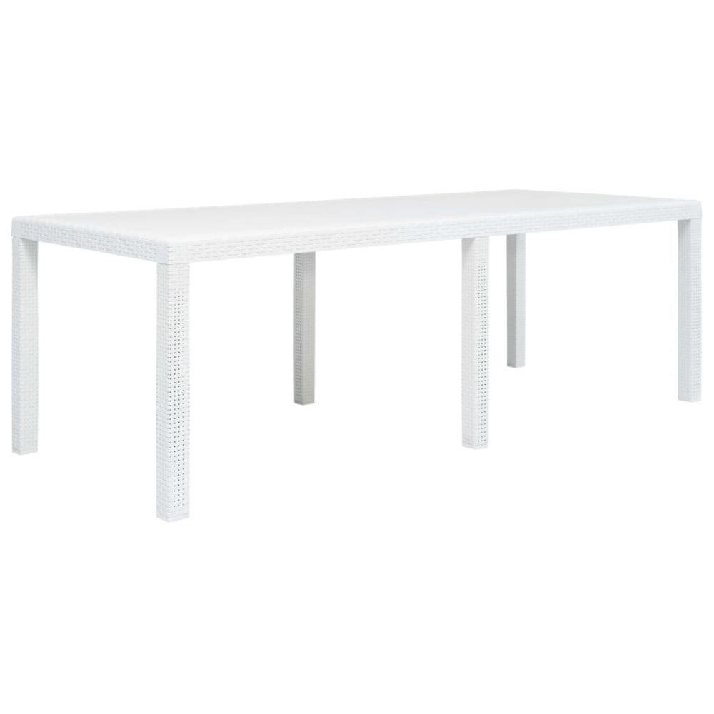 Vidaxl vidaXL Table de jardin Blanc 220x90x72 cm Plastique Aspect de rotin