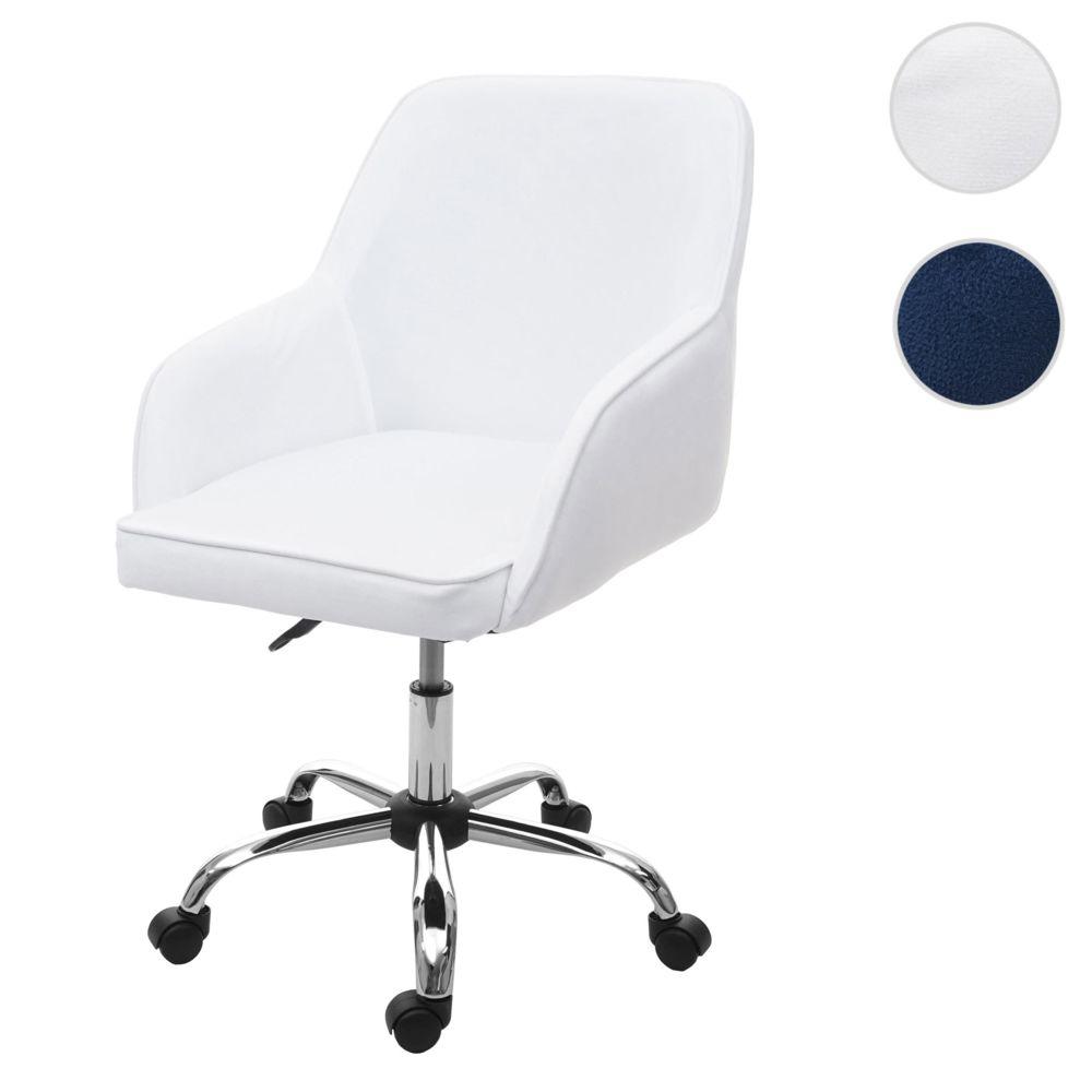 Mendler Chaise de bureau HWC-F82 fauteuil directorial, pivotant, design rétro, velours ~ blanc