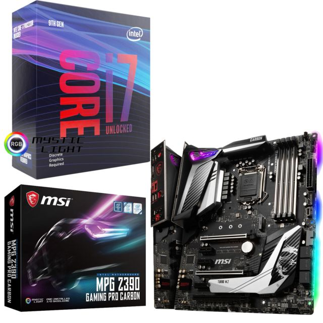 Intel - Core i7 9700K - 3,6/4,9 GHz + Intel Z390 GAMING PRO CARBON - ATX - Kit d'évolution Intel