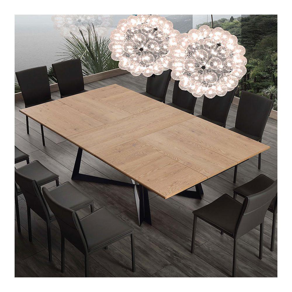 Nouvomeuble Table extensible 10 personnes en bois et métal WARREN