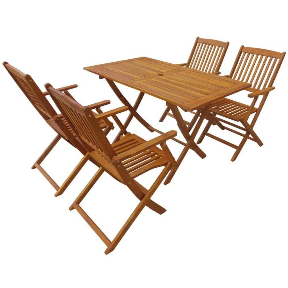 Vidaxl Mobilier d'extérieur 5 pcs Bois d'acacia massif | Brun - Meubles/Meubles de jardin/Ensembles de meubles d'extérieur | Br