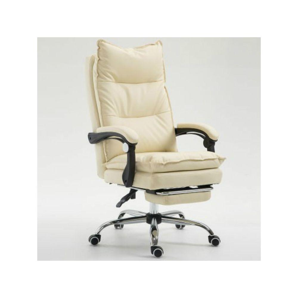 Wewoo Fauteuil de jeu ergonomique en cuir synthétique avec pieds acier pour chaise de Office E-Sports blanc