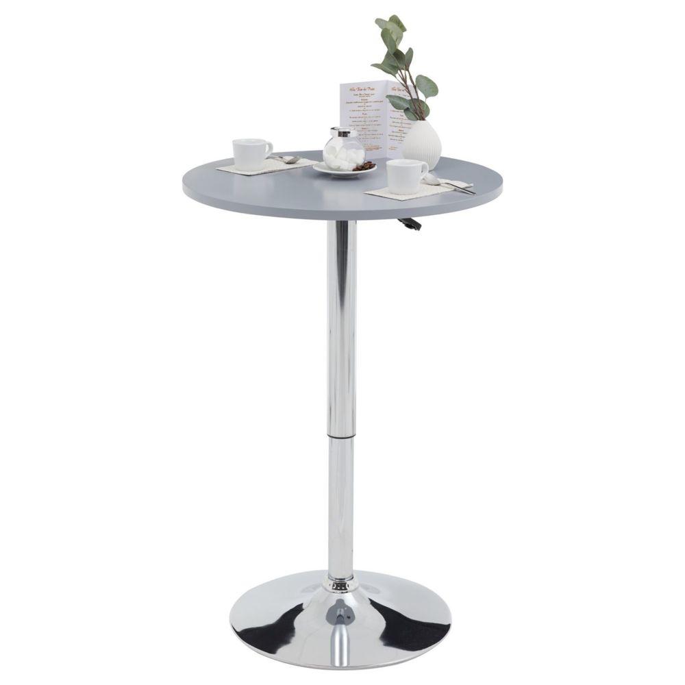 Idimex Table haute de bar VISTA table bistrot ronde hauteur réglable avec plateau tournant en MDF gris et socle en métal chromé